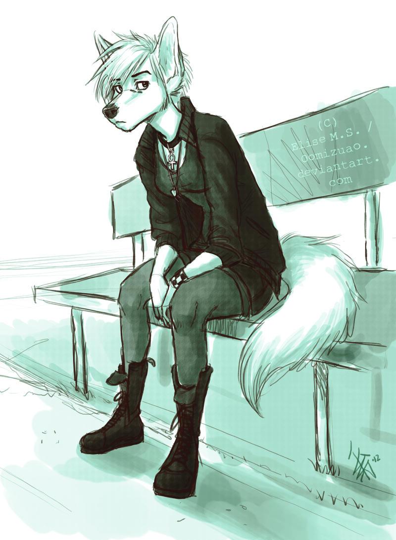 ID - White Shepherd fursona thingy by oomizuao