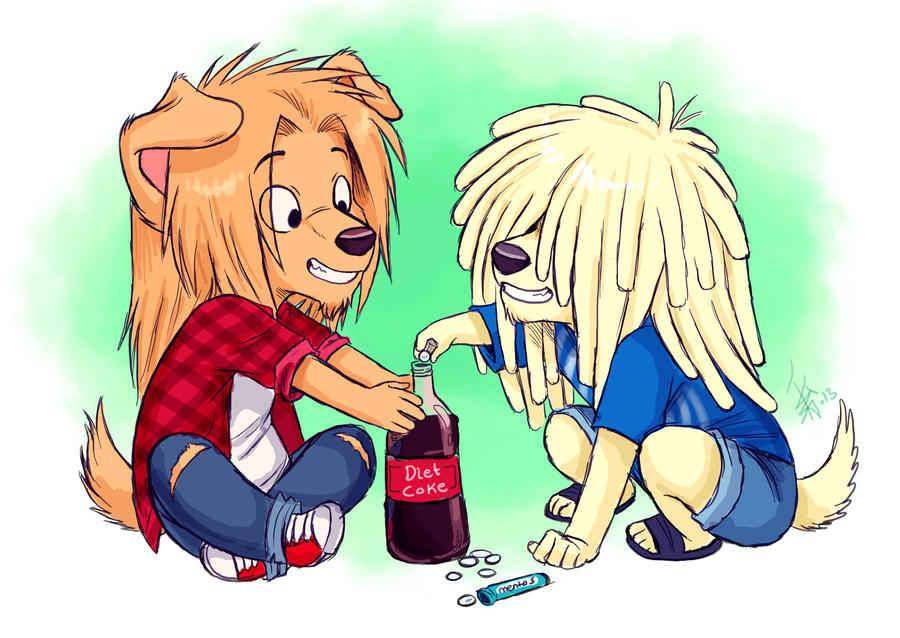 Saunders and Terrance - mentos and diet coke by oomizuao