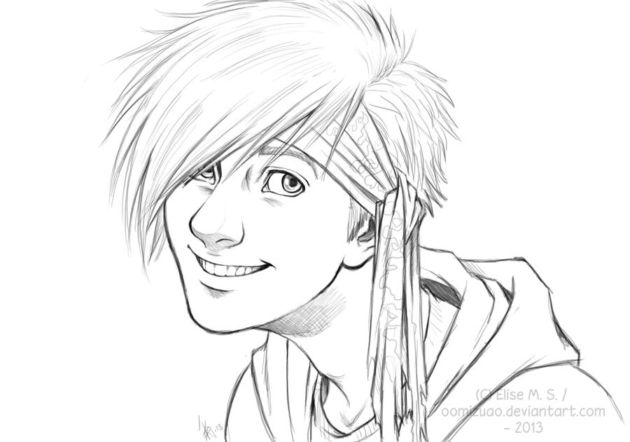 Line Drawing Of Human Face : Human ray unfinished drawing thingy by oomizuao on
