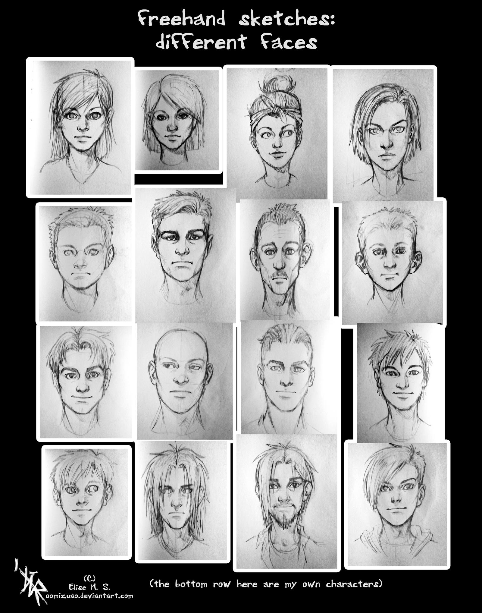sketches - different face types by oomizuao