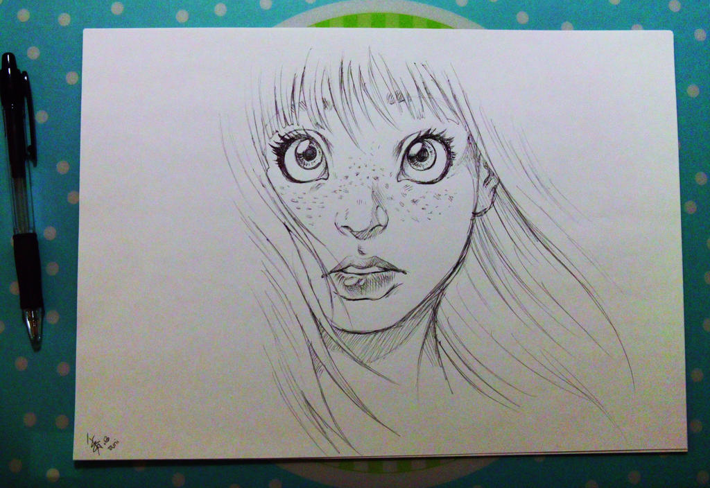 Pen Drawing Of A Girl by oomizuao