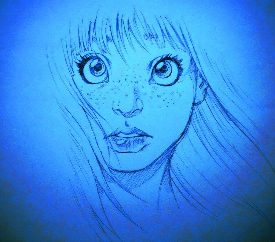 Pen Doodle Of A Girl - Blue version