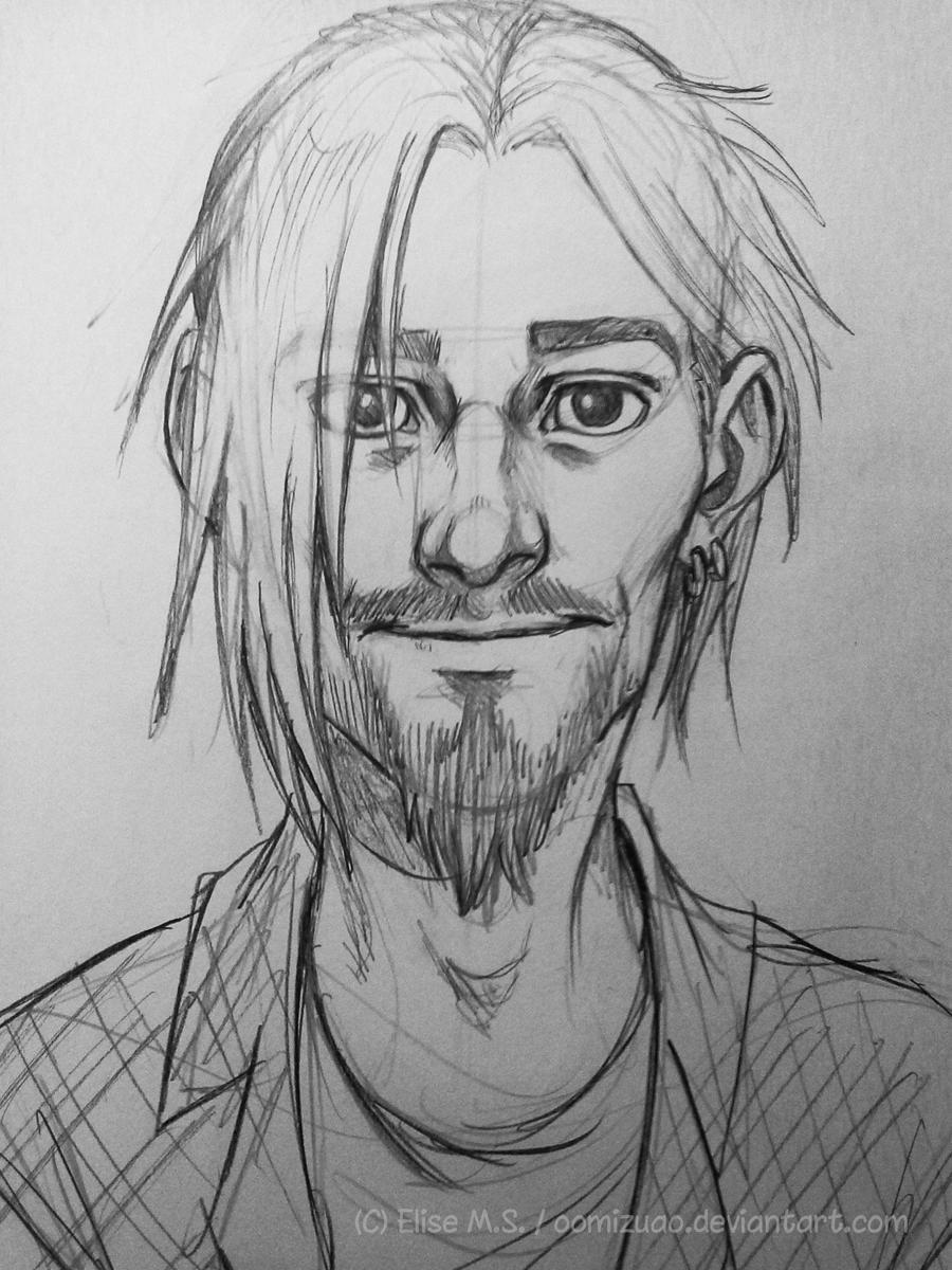 Old sketch of Saunders - another human version by oomizuao