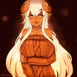 Nutmeg, my pumpkin spice demon oc