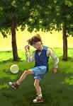 Conan plays football