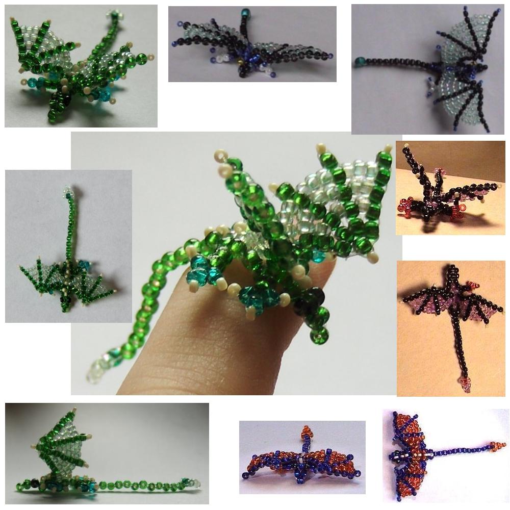 Bead Dragons by ChimeraDragonfang