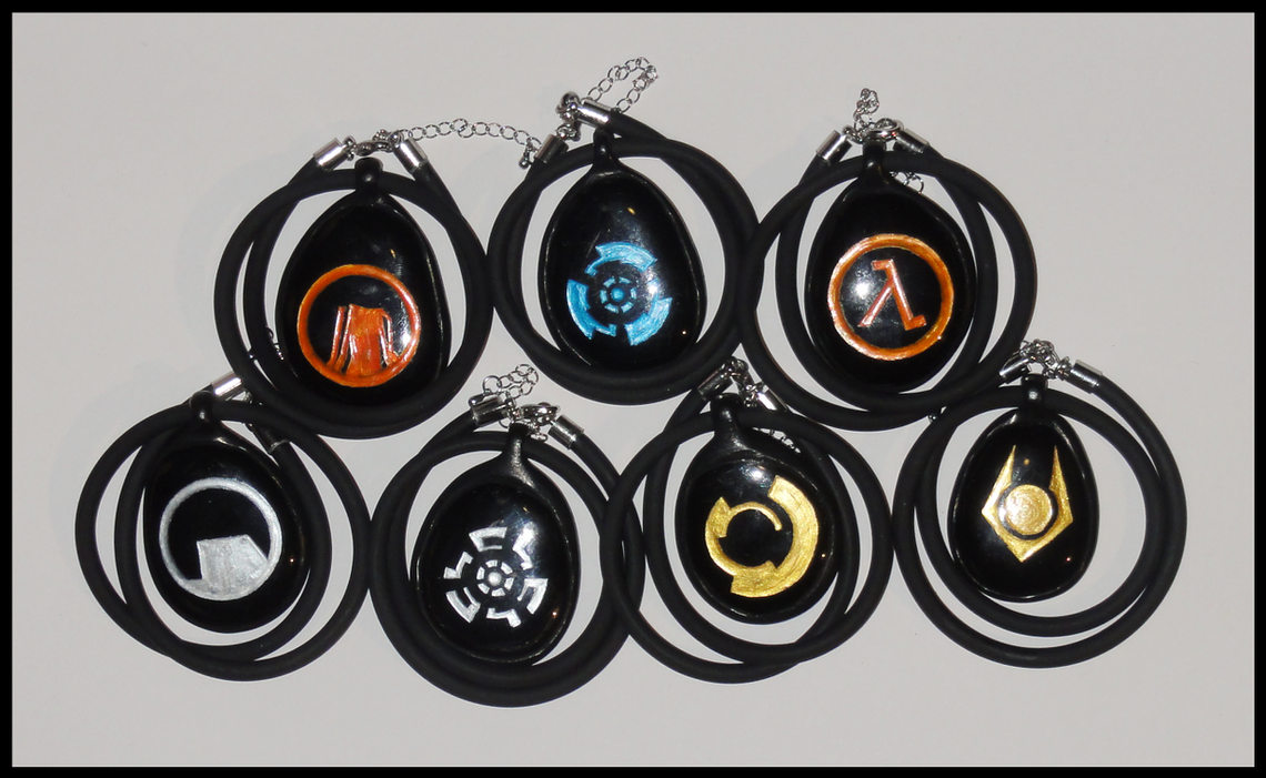 Half-Life Necklaces by ChimeraDragonfang