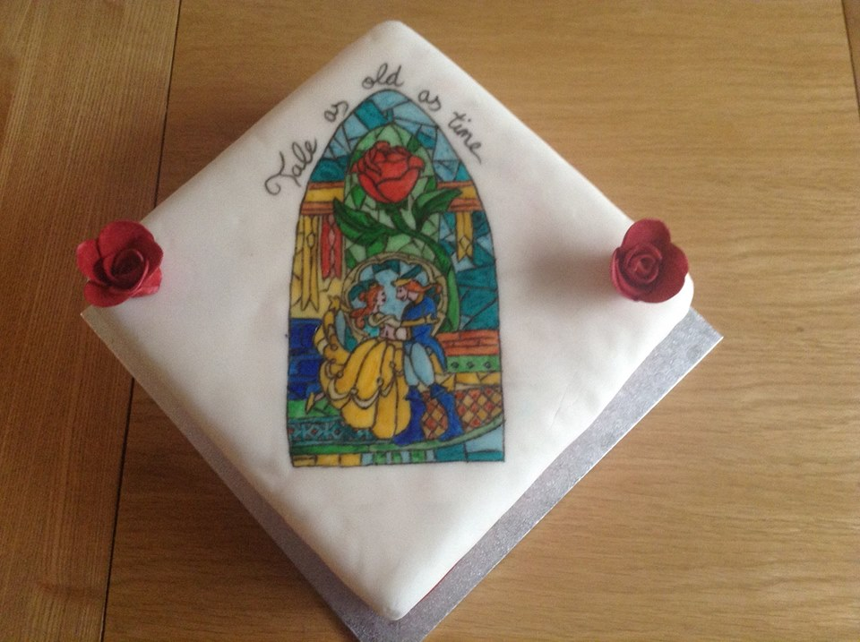 Beauty and the Beast Stained Glass Cake by emily0410