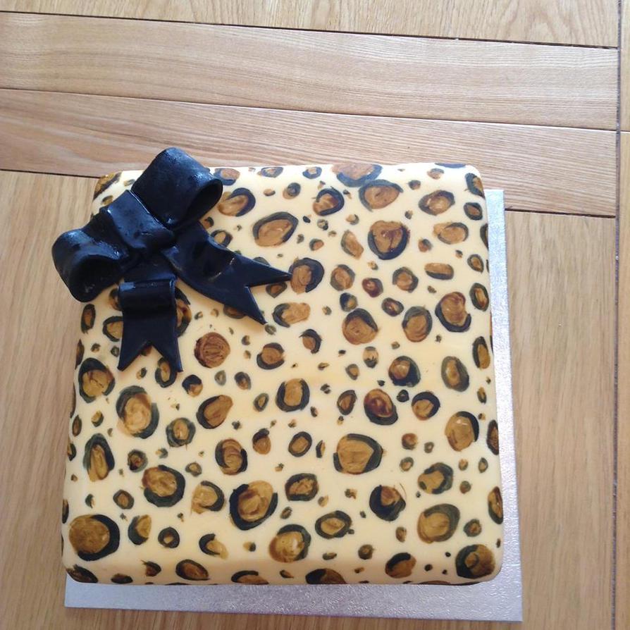 Leopard Print Parcel Cake by emily0410