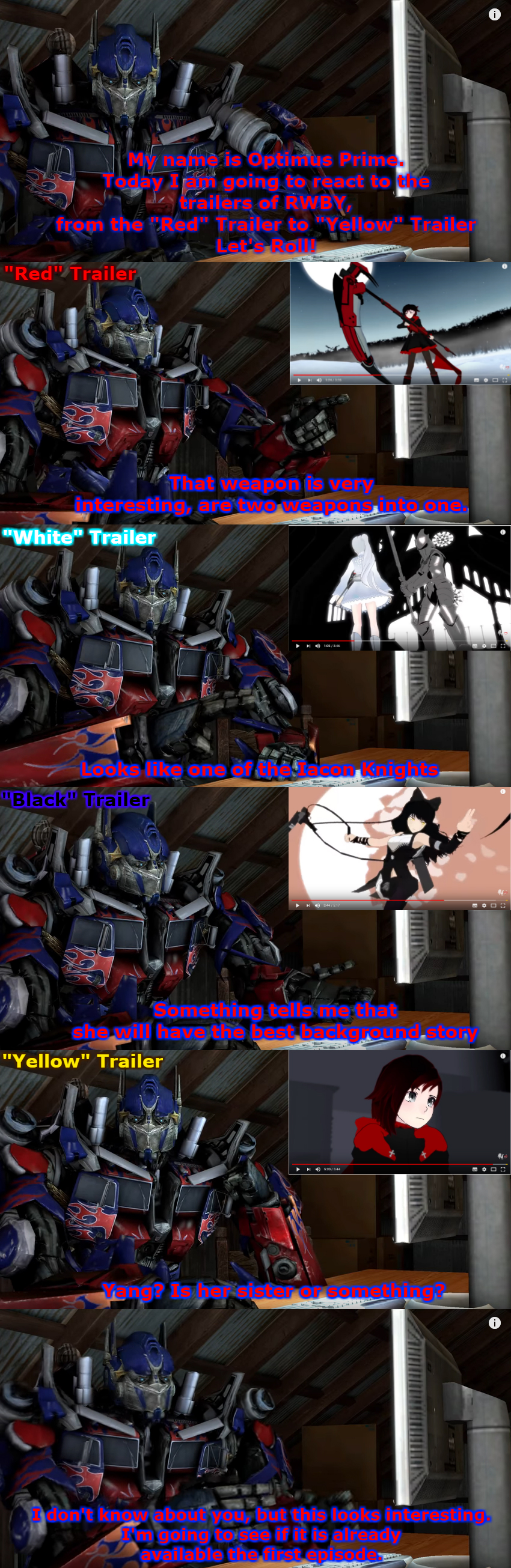 Optimus reacts to RWBY Trailers by Simbiothero on DeviantArt