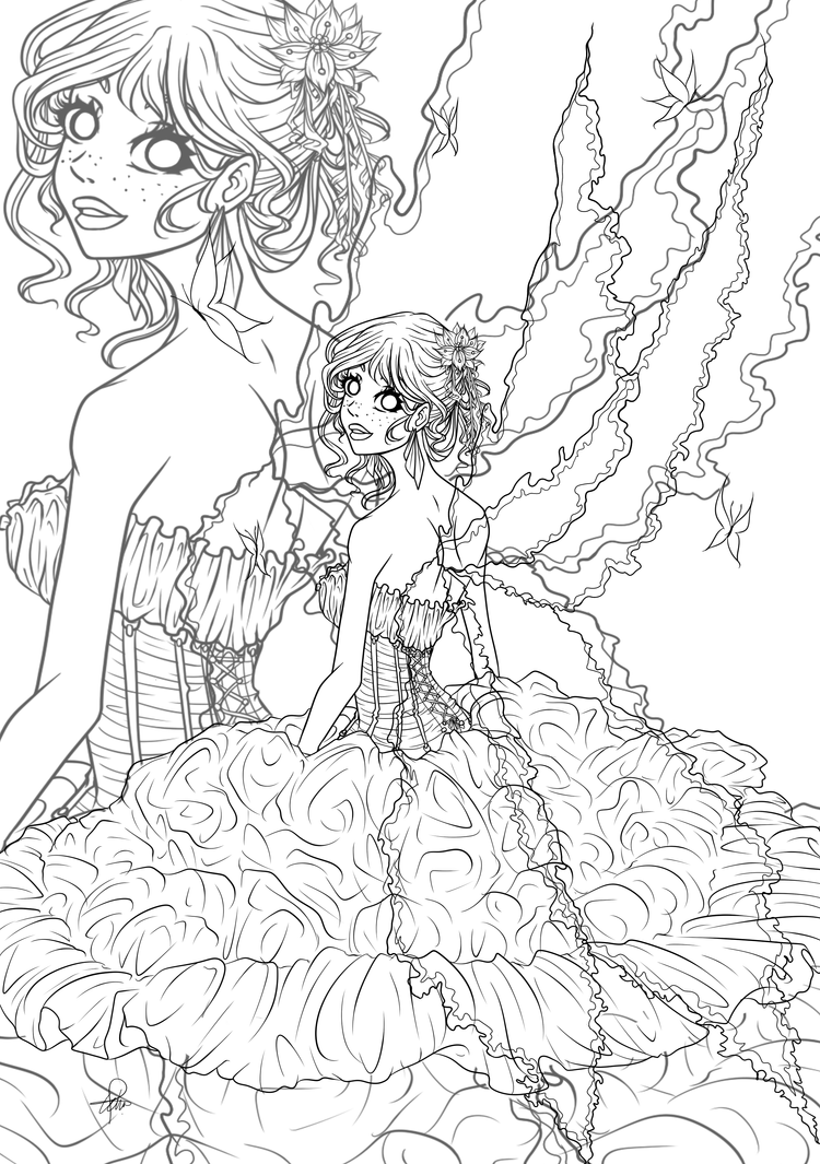 Flower fairy lineart by egaoxxxlotje on deviantart for Flower fairy coloring pages free
