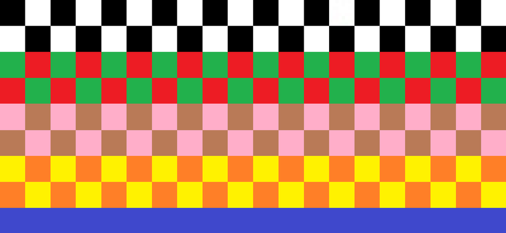 ''All Together Now'' Color Pattern Checkered Quilt by JCSStudio