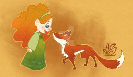 Children Illustration Concept | Girl with Fox