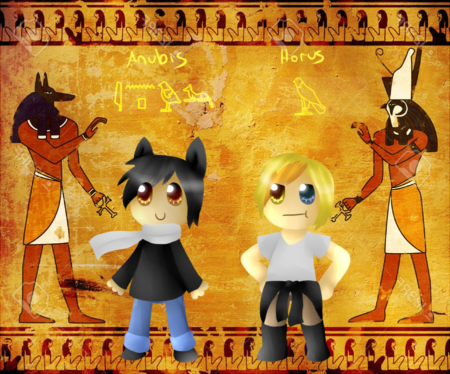 Chibi Interpretations of Anubis/Horus by TheCoconutTurtle on