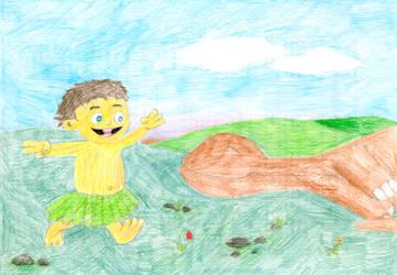 Caveman and Dinosaur by b1oki