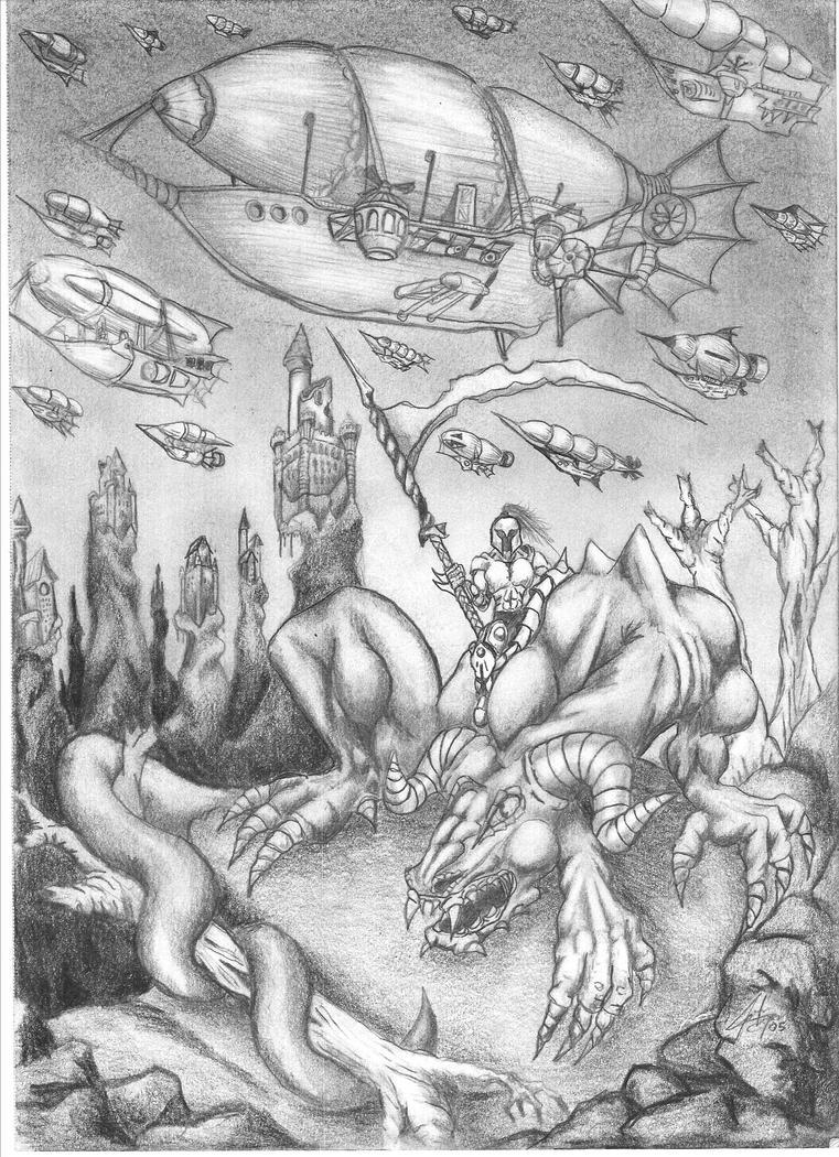 Airship Battle Dragon Rider by shesen