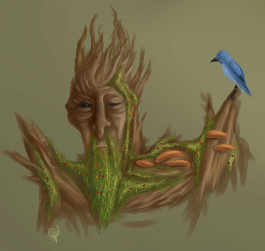 An ent and a bird by Whispering-forests