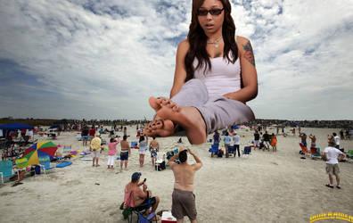 Giantess Genarika beach 2 by lowerrider