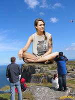 Giantess Jessic Alba sitting by lowerrider