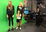 2 tall volleyball players in studio