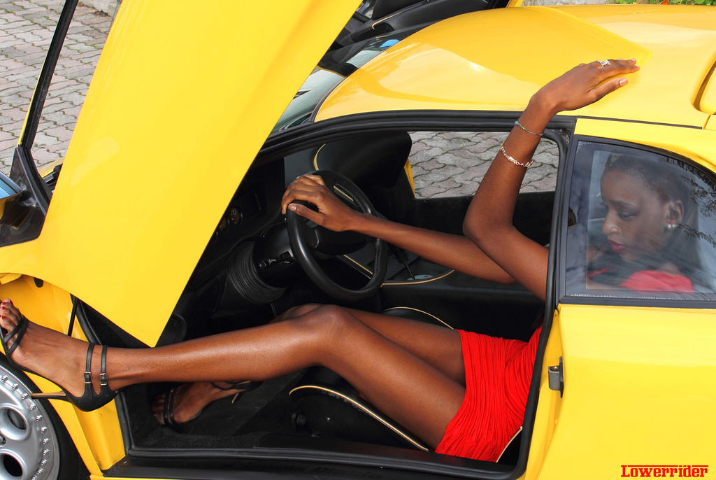 Tall model Keli in Lamborghini Diablo by lowerrider