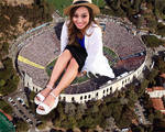 Giantess Jess Lizama in stadium