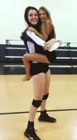Tall Volleyball player hug