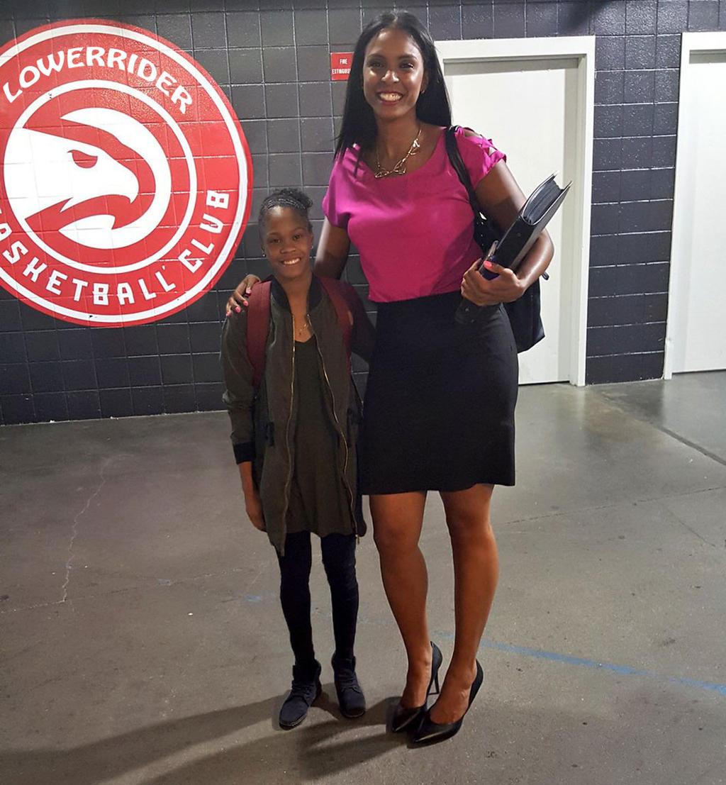 Tall woman short girl