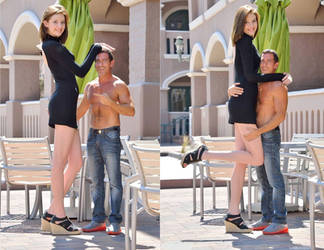 Tall porn actress with tiny man by lowerrider