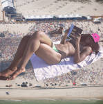 giantess relaxing on the beach