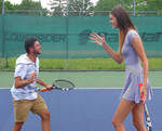 Tall tennis player