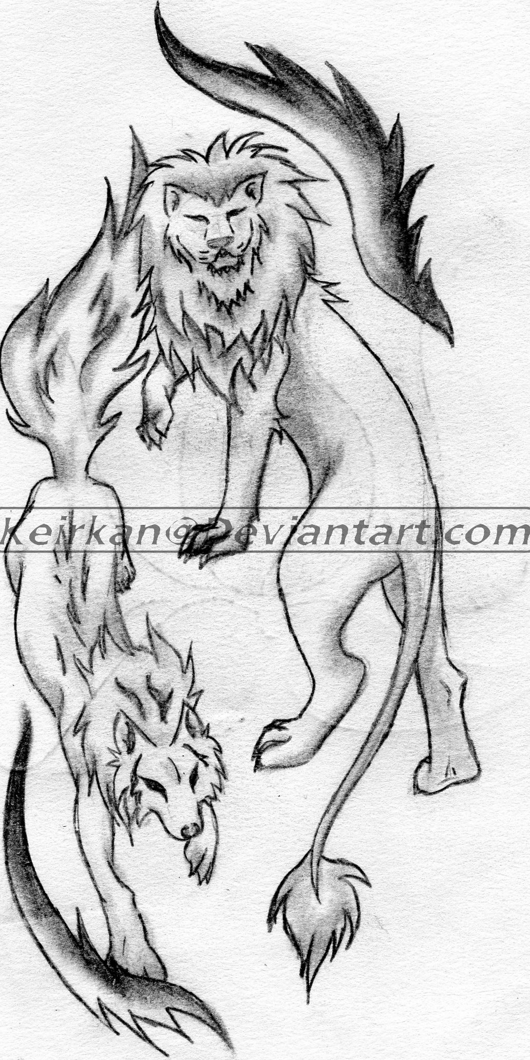 Lion wolf tattoo by Keirkan