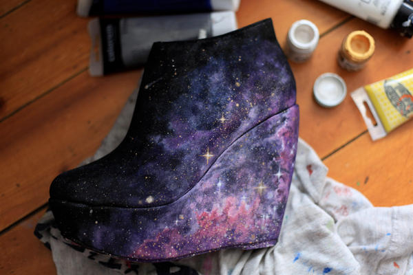 Handpainted nebula shoes by AlexandraSophie