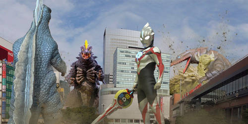 Ultraman Orb and Anguirus vs underground monsters