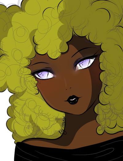 blond afro by makoeka