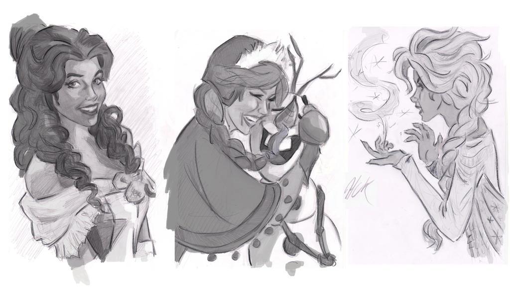 Disney Girls Sketches by artist2point5