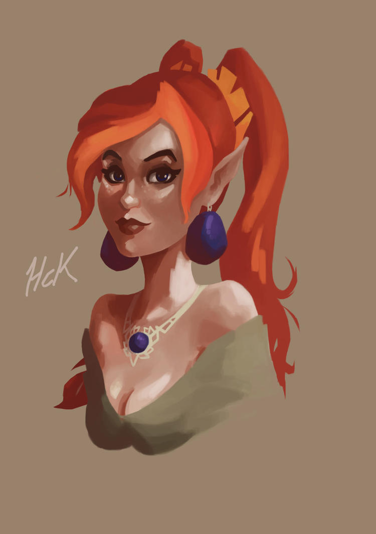 Red hair and pointy ears by artist2point5