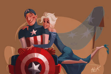 Request Elsa flirting with Captain America