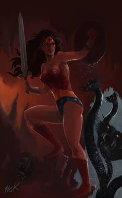 Wonder Woman fighting Hydra