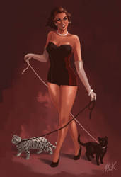 Pinup -Two Cats and a Kitten
