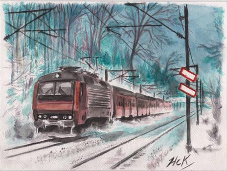 Watercolor Train EA snow