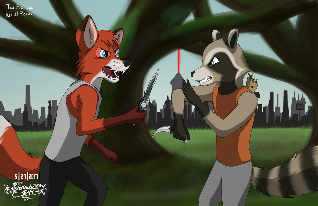 Tod Fox And Rocket Raccoon Knife Fight Crossover by rainbowdash5846