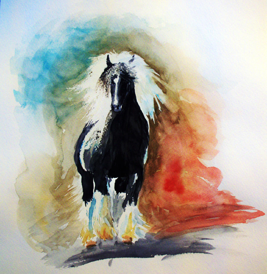 Watercolor Horse Study by C-S-Marcy