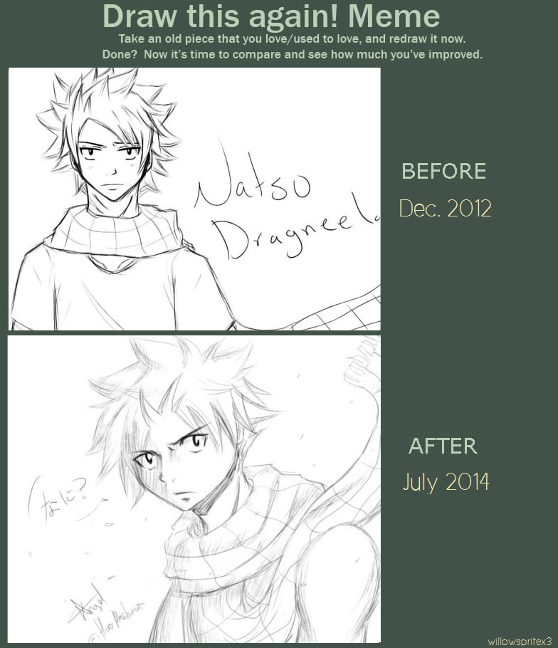 Before and After - Natsu Sketch by willowspritex3
