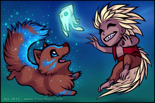 Chibi Demon and Wolf