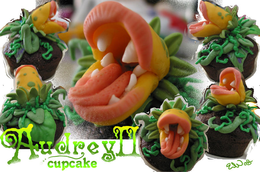 Audrey II cupcake by real-faker