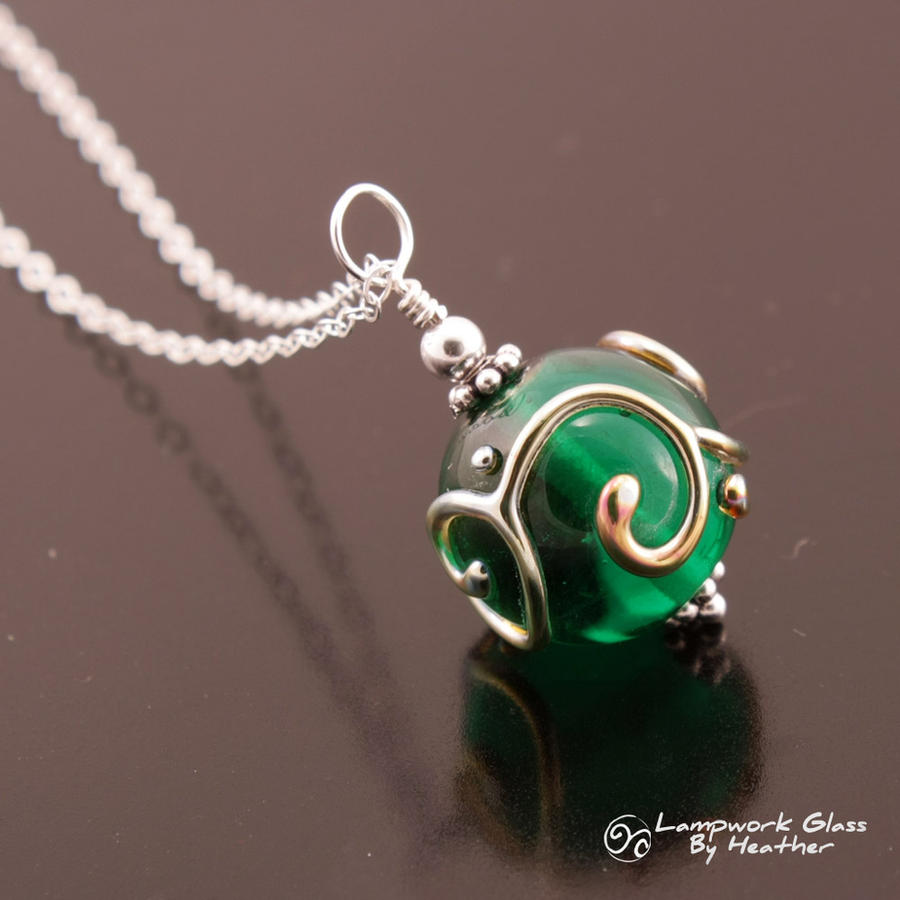 Metallic Scrolls Green Pendant by booga119