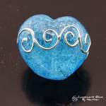 Metallic Scrolls on Aqua Heart