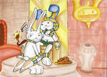 The Pharaoh and the lagamorph slave by MoonyDash