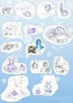 Aylia and Kuo sketchdump by MoonyDash